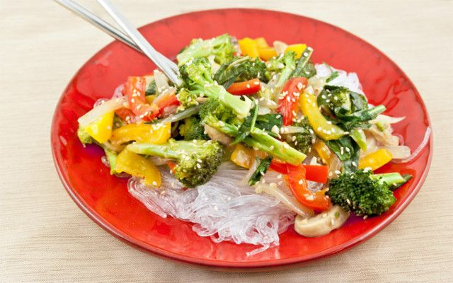 Vegetable Stir-fry with Garlic Sauce *added rice vinegar, tons of ginger and siracha to the sauce