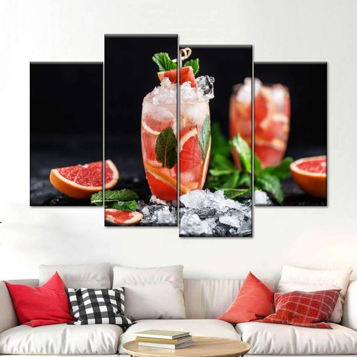 Grapefruit Cocktails Multi Panel Canvas Wall Art #grapefruitcocktail