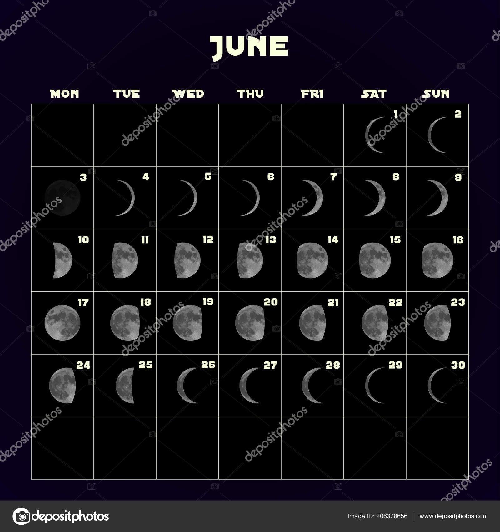 June 2019 Moon Calendar Template Calendar Printable