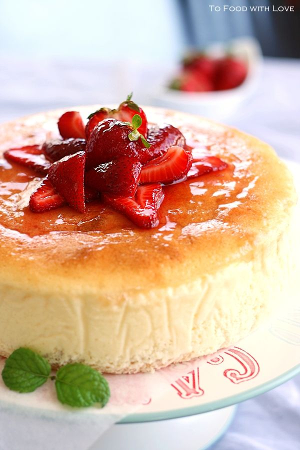 creamy japanese cheesecake with sponge base...