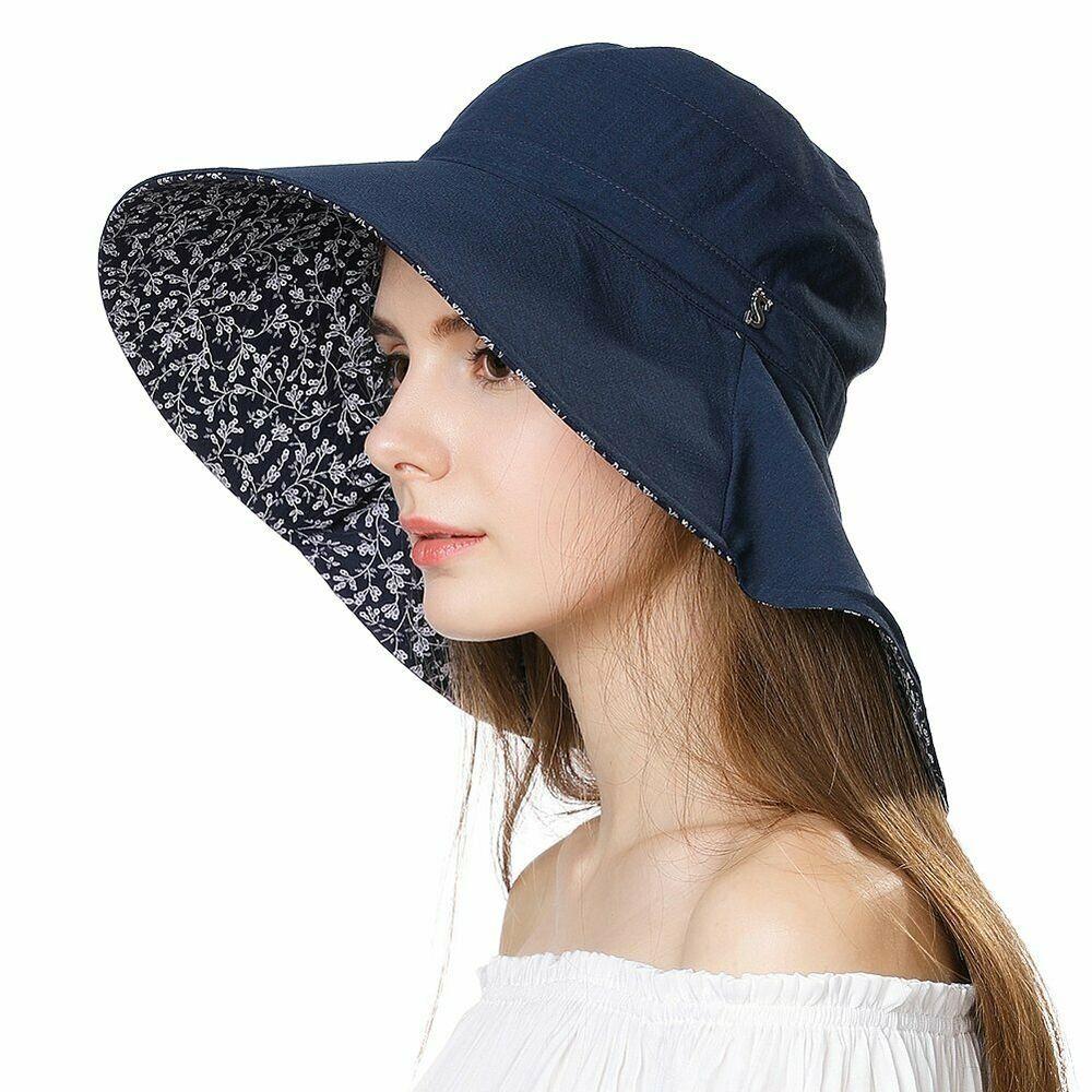 Cotton Ponytail Bucket Caps Hats Reversible Summer Women/'s Summer Beach Sun Hat