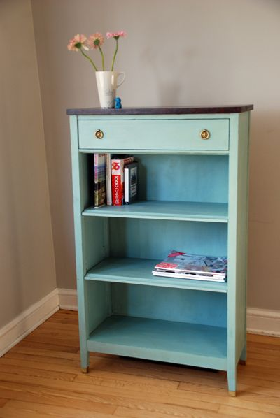 Blue Bookcase this was previously a very tired, boring bookcasei think she's
