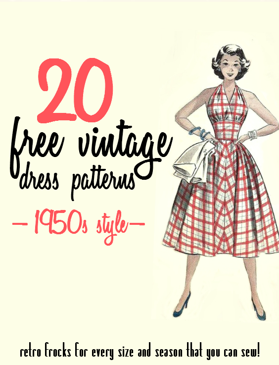 20 Free 1950s Style Dress Patterns (Va-Voom Vintage) | 1950s style ...