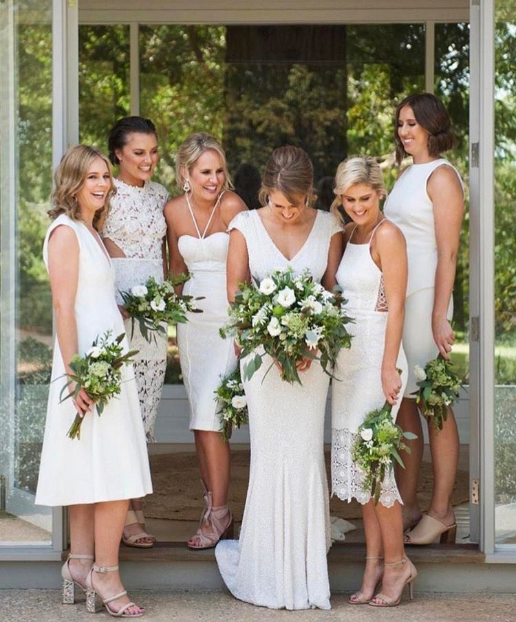 Pin By Antoinette Aggrey On Wedding Bridesmaids Beach Wedding White Alternative Bridesmaid Dresses White Bridesmaid Dress Mismatched