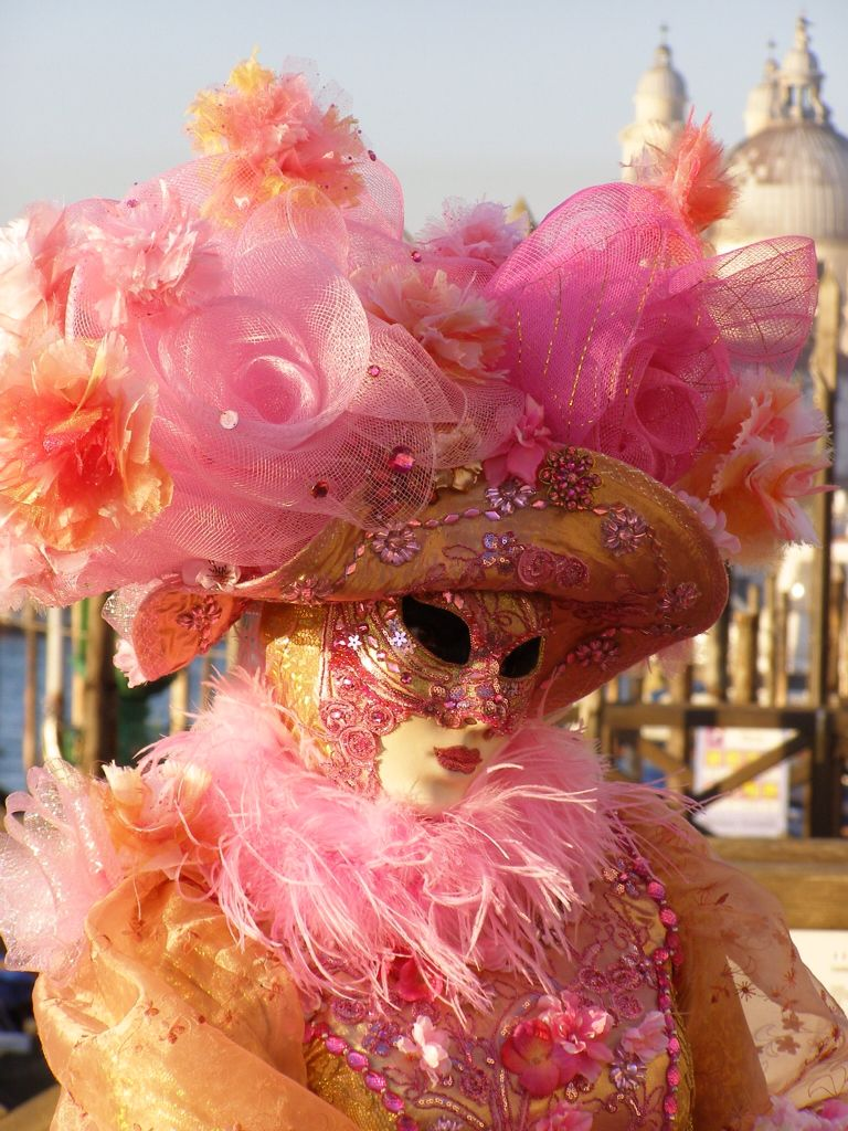 Beautiful in pink, Venice Carnival 2015 by Lesley McGibbon