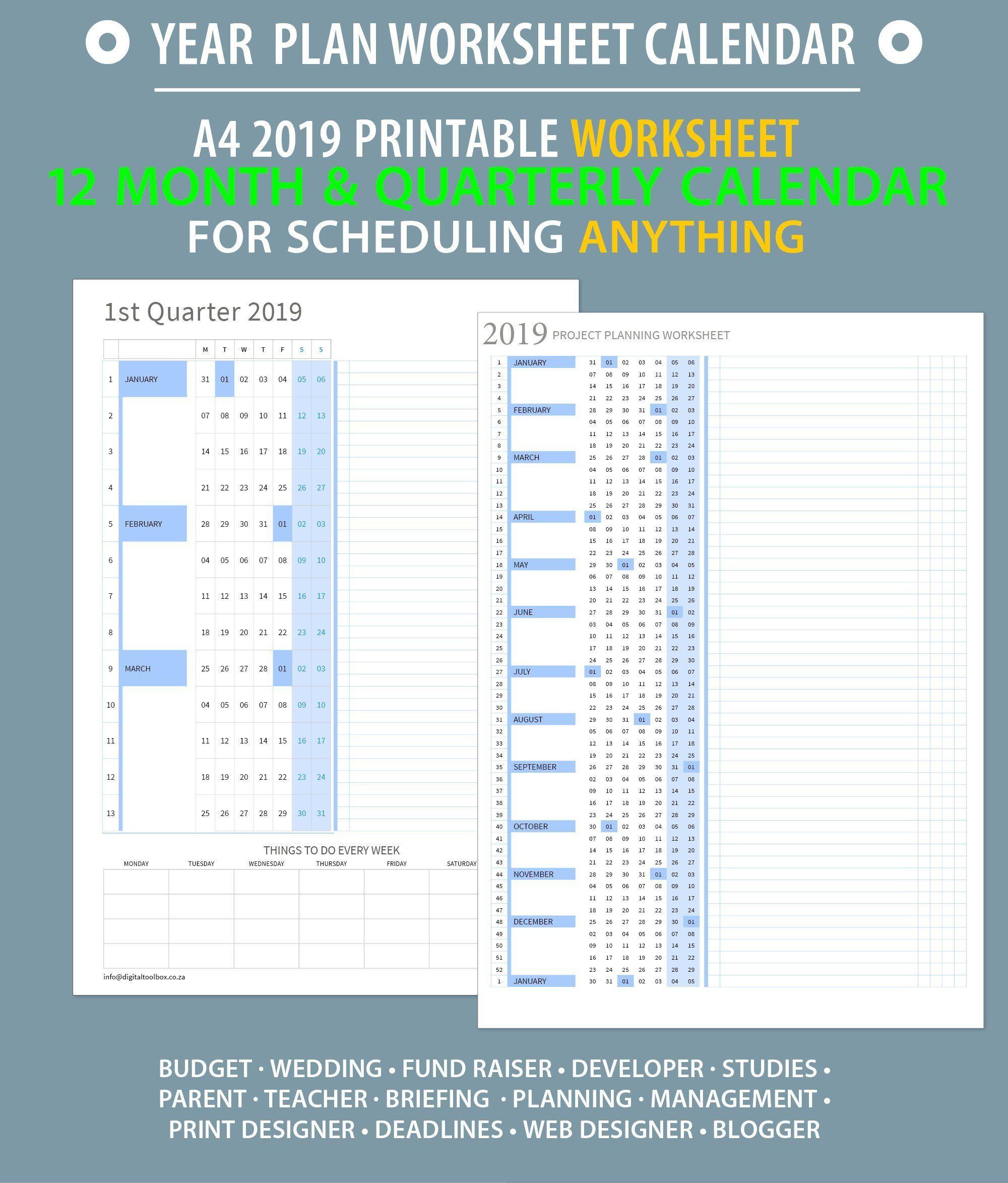 Full Year At A Glance Worksheet Printable Timeline
