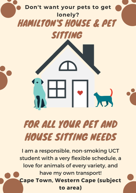 House & Pet sitting in & around the Western Cape (prices