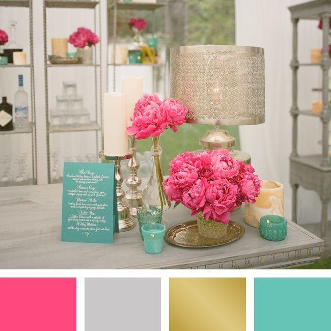 Pink, silver, gold and aqua color palette | Photographer: Aaron Delesie