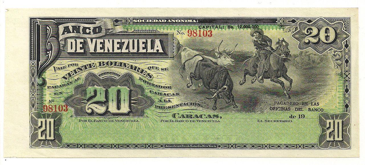 Banco de venezuela veinte bolivares bill geld for 0banco de venezuela