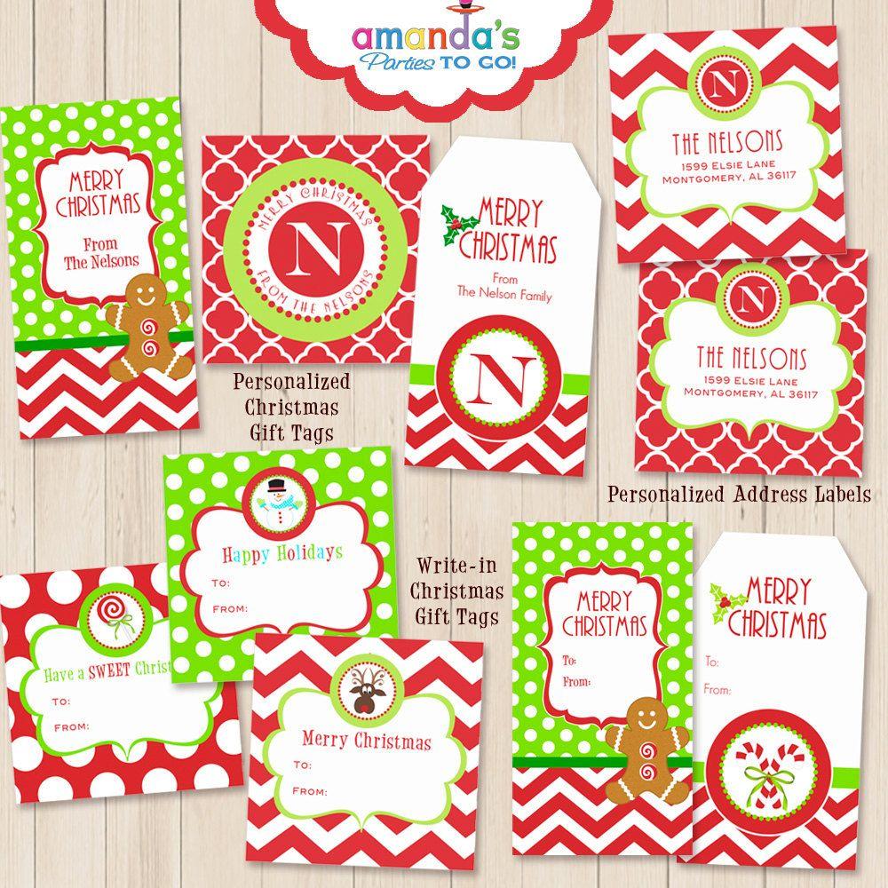 Christmas Tags Printables Personalized Monogram Christmas Address Label Chevron Christ Merry Christmas Tags Christmas Gift Tags Printable Christmas Tag