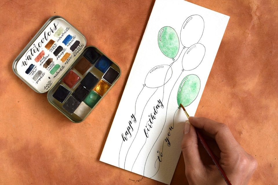 Watercolor Birthday Cards Tutorial ~ Quick balloon themed birthday card tutorial card tutorials