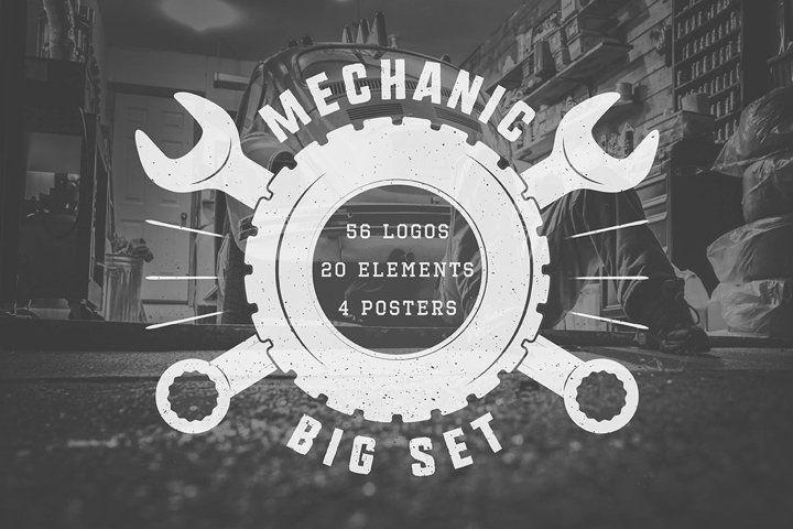 Mechanic and car repair emblems bundle 13593 logos