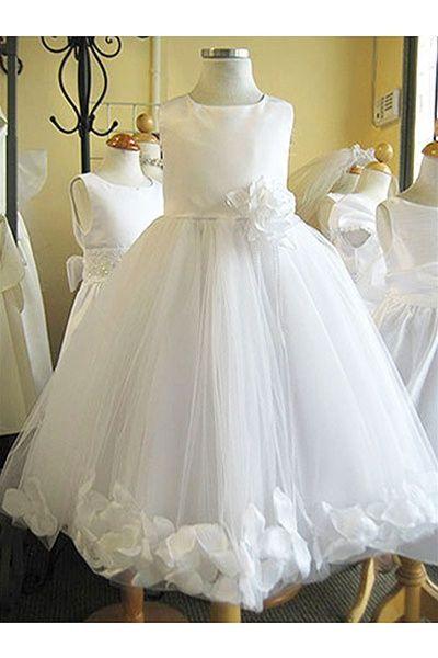 f9a0121792d Flower Girl Dresses  KD160WH   Dupioni Silk or Satin Bodice Petal ...
