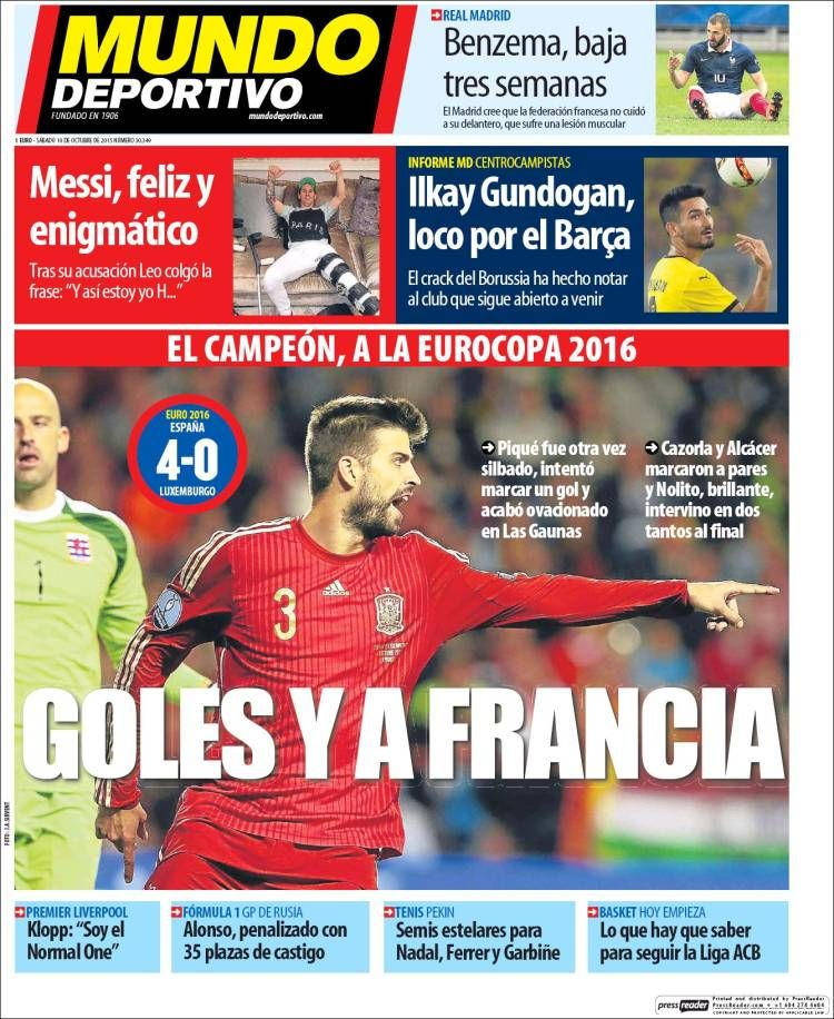 España ya está en la Euro 2016, pitos a Piqué las