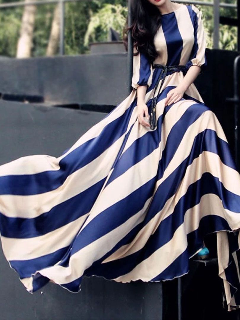 Blue stripe sleeves elastic waist silky maxi dress choies