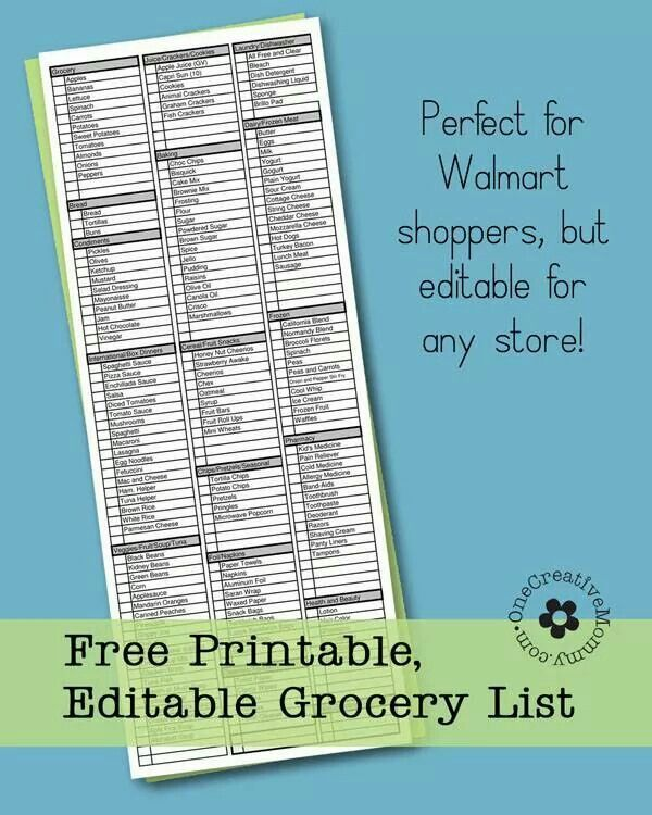 Grocery list | Miscellaneous | Pinterest