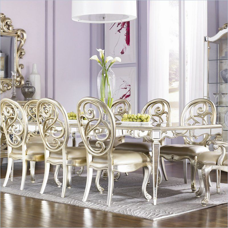 Jessica McClintock Couture Antique Mirror Leg Dining Table Two Leaves Find This Pin And More
