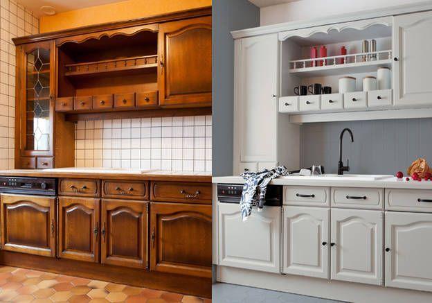 Idée relooking cuisine \u2013 Les meubles\u2026 - Repeindre Un Meuble En Chene