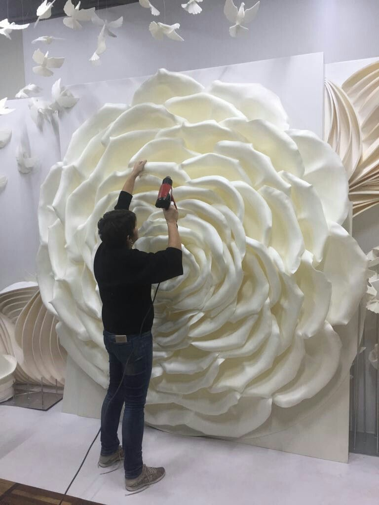 this giant rose is made from eva foam  using hot hairdryer
