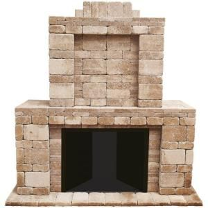 Pavestone Rumblestone 84 In X 38 5 In X 94 5 In Outdoor Stone Fireplace In Cafe 53369 Outdoor Fireplace Kits Outdoor Fireplace Outdoor Fireplace Plans