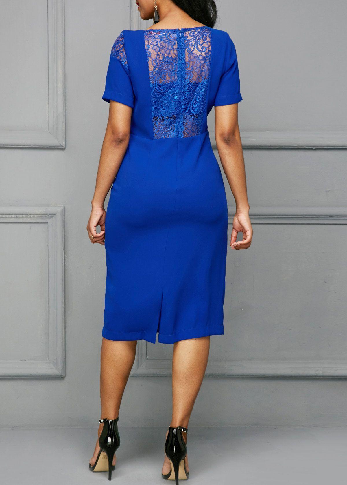 2dc84ffe2e3 Royal Blue Back Slit Lace Panel Dress