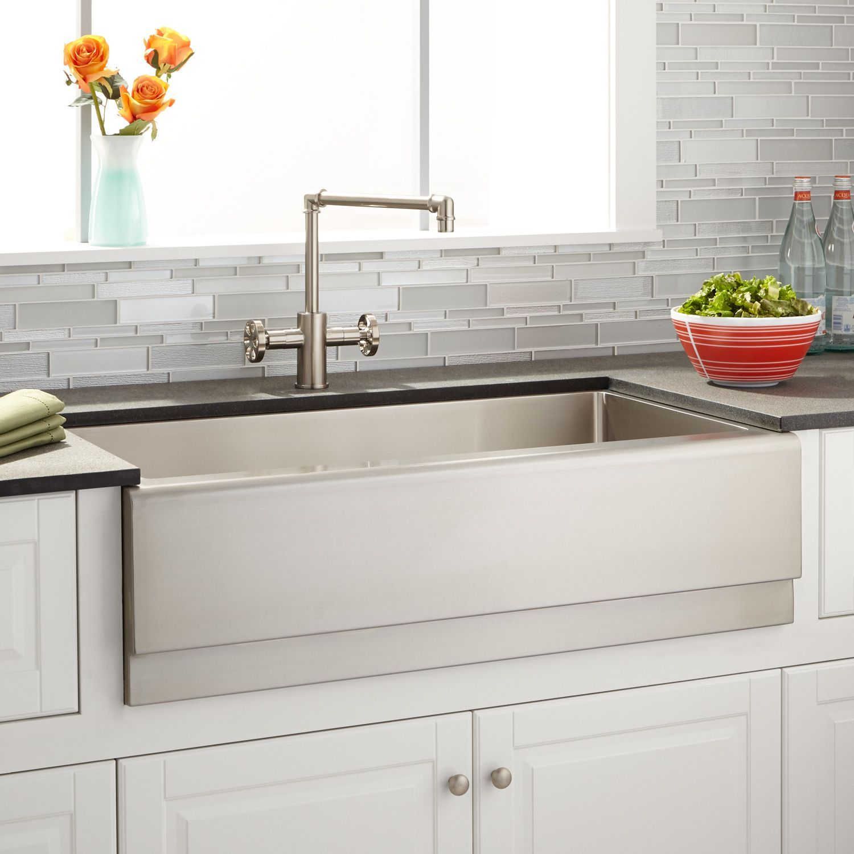 36 optimum stainless steel farmhouse sink beveled apron