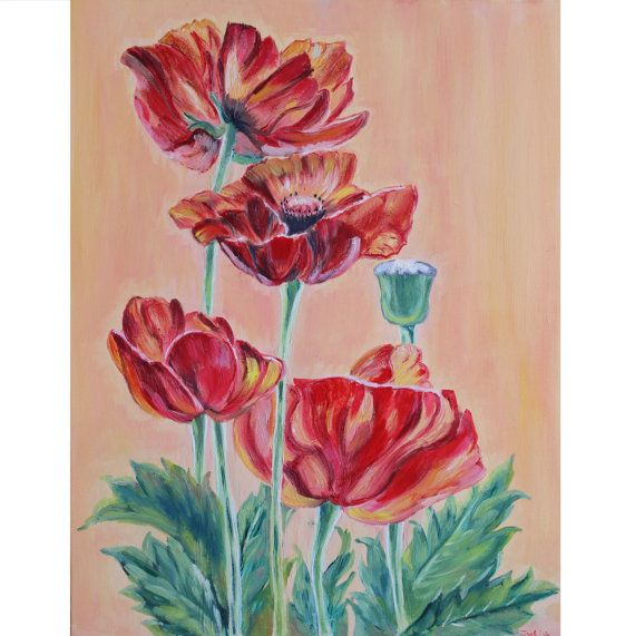 Oil on canvas painting Summer flowers Poppies Poppy flower