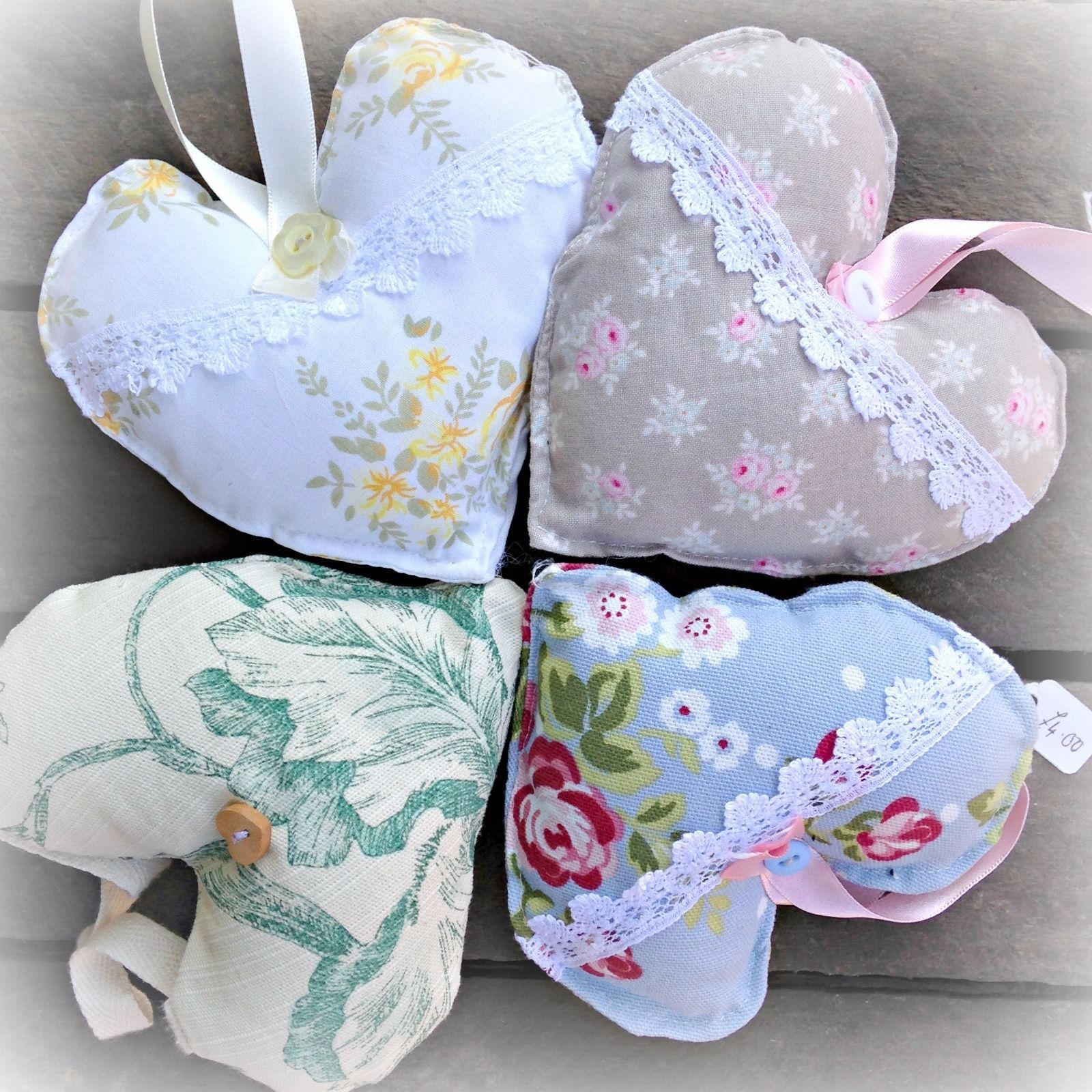 Swell Handmade Fabric Hanging Hearts Set Of 4 Vintage Wedding Home Interior And Landscaping Ponolsignezvosmurscom