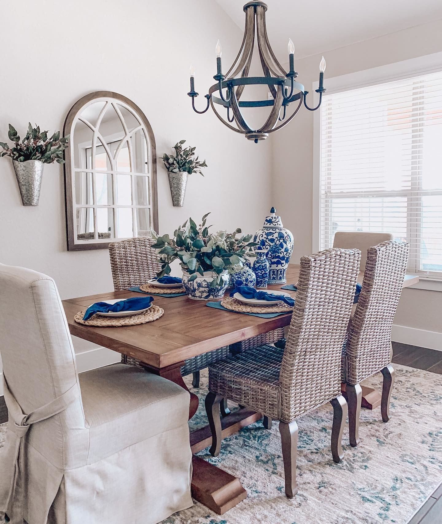 Spring Dining Room Refresh With Blue Tablescape Accents Tap To Shop Our New Collection Featuring The Pantone Dining Room Blue Kirkland Home Decor Dining Table