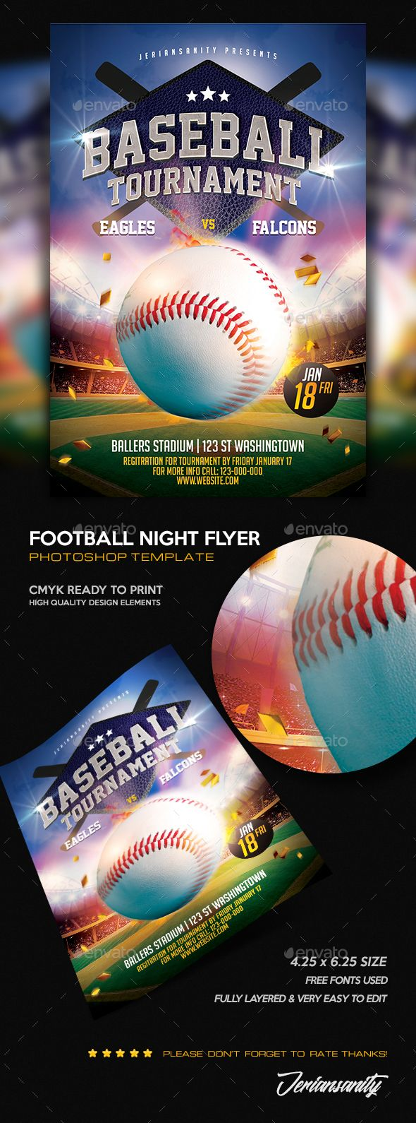 Baseball Flyer | Psd templates, Template and Fonts