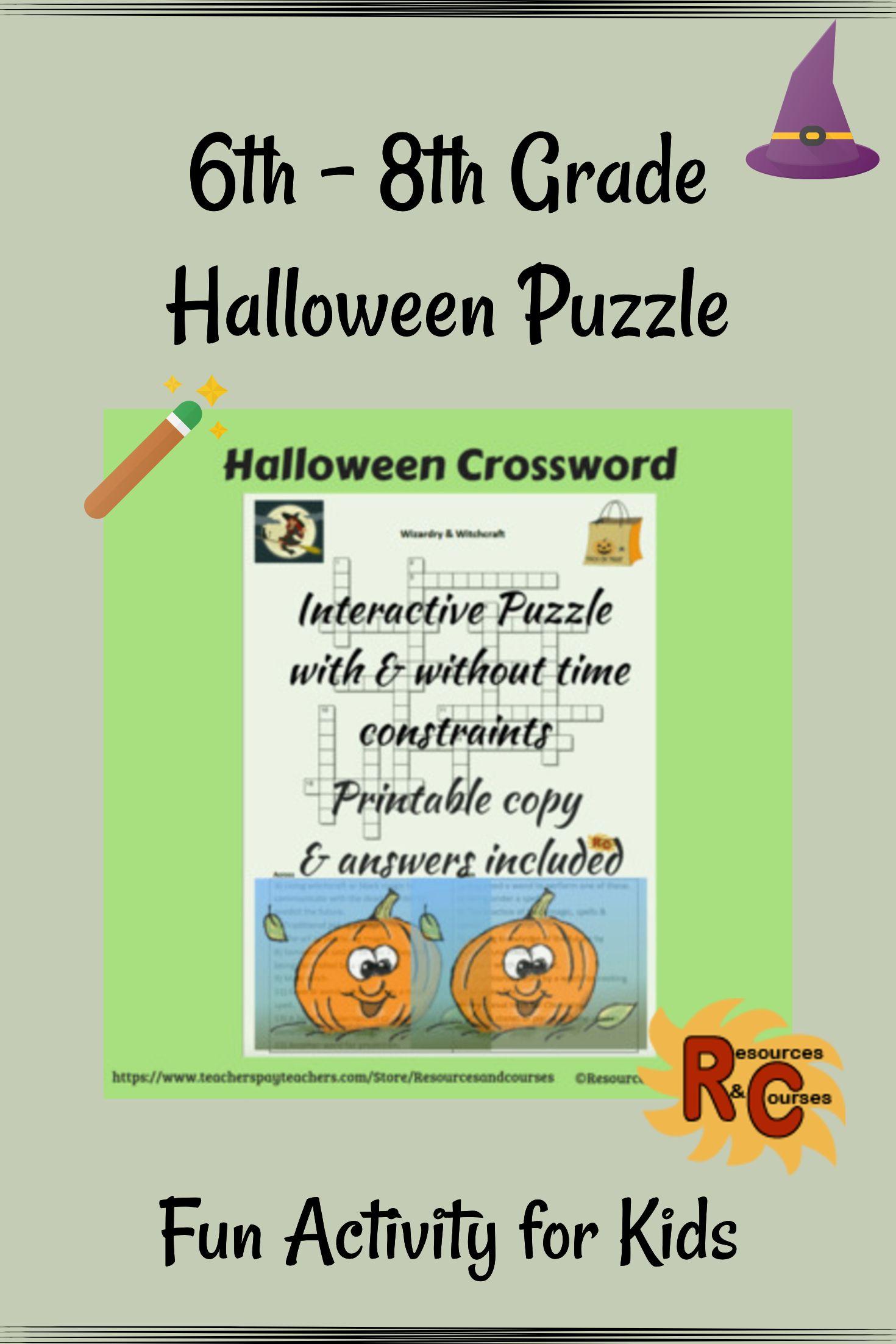 Halloween Interactive & Printable Crossword Puzzle 6th8th