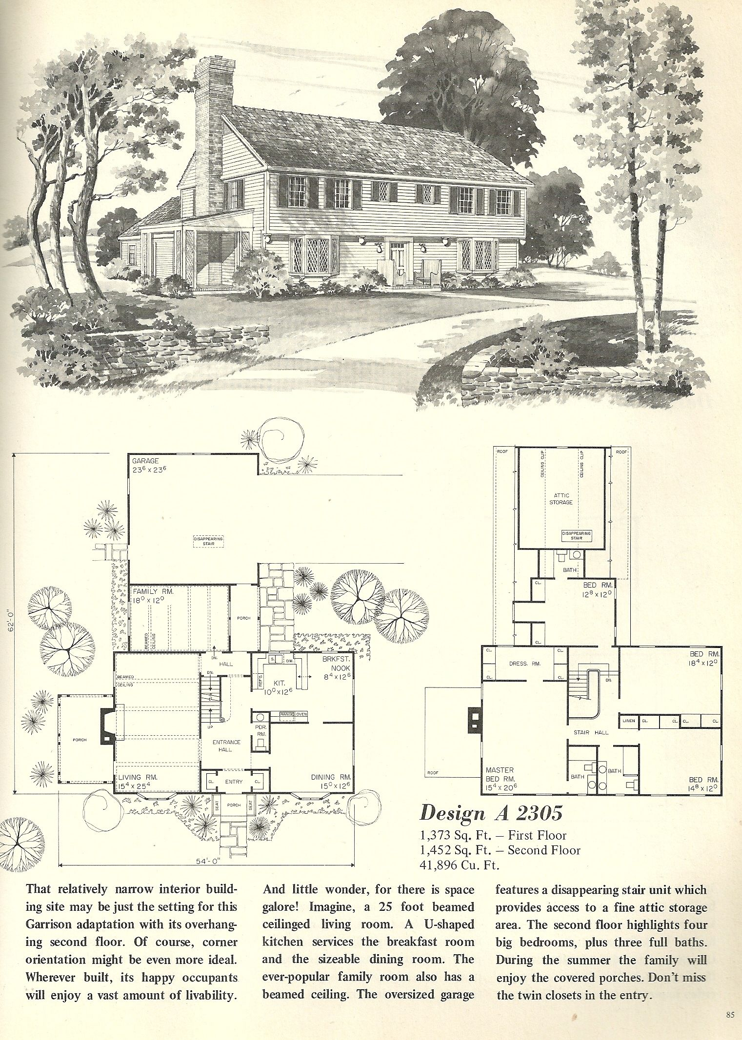 Vintage House Plans 2305 Colonial House Plans Vintage House Plans House Plans Farmhouse