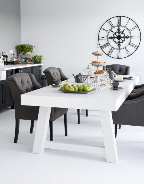 Love the white table with the black chairs Interiors Pinterest