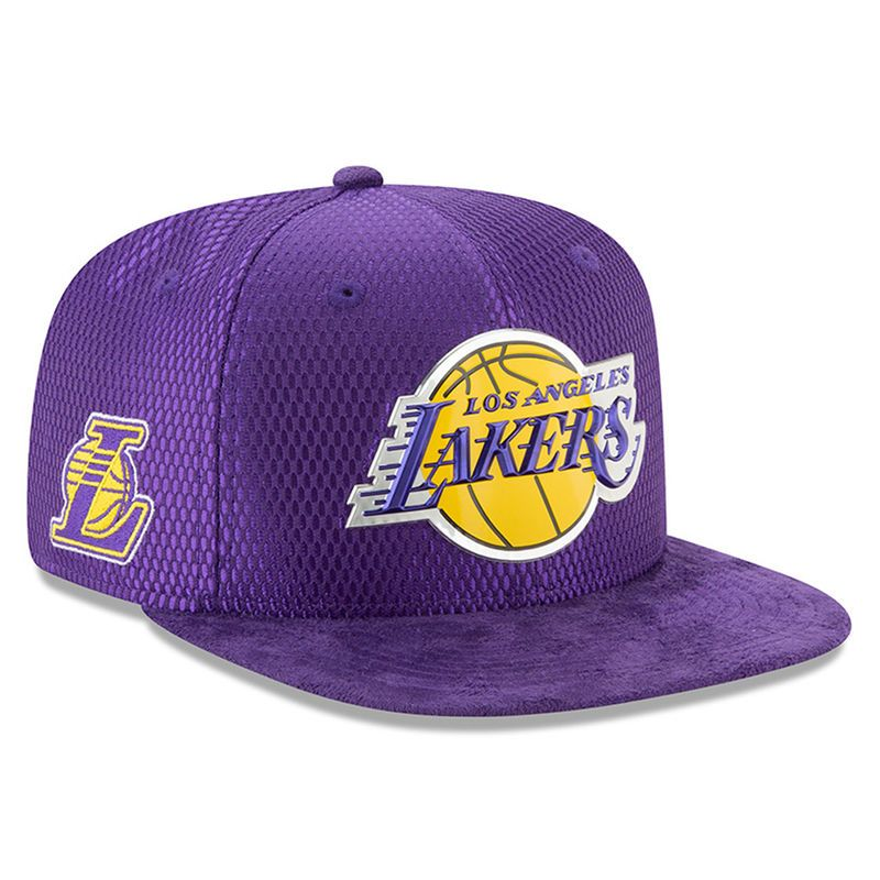 new concept 7e1b0 e9dda Los Angeles Lakers New Era Youth 2017 NBA Draft Official On Court Collection  9FIFTY Snapback Hat - Purple