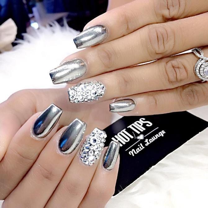 Chrome With Diamond Nail Art Bmodish Nail Design Nail Art Nail Salon Irvine Newport Beach Nail Designs Diamond Nail Art Rhinestone Nails