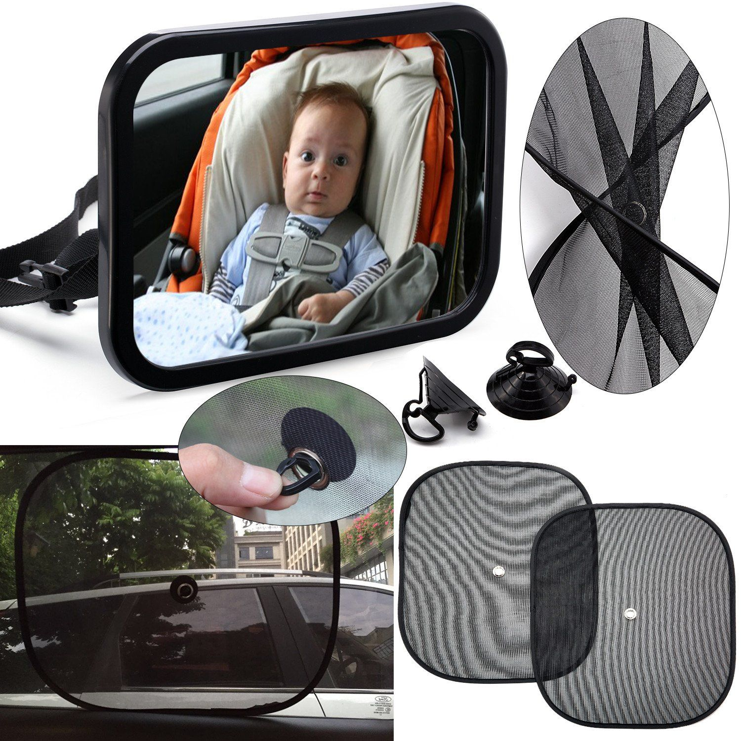 Taf toys car seat toy  Baby Backseat Mirror for Car COMBO w  Universal Window Shades