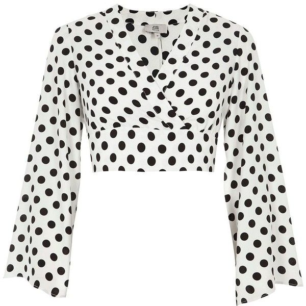 2bff98d9d59cf River Island Petite white polka dot bell sleeve crop (880.895 IDR) ❤ liked  on Polyvore featuring tops