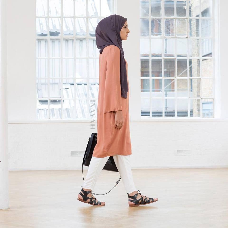 INAYAH   Rose Rayon Kimono #Midi + Charcoal Georgette Hijab + White Trousers…