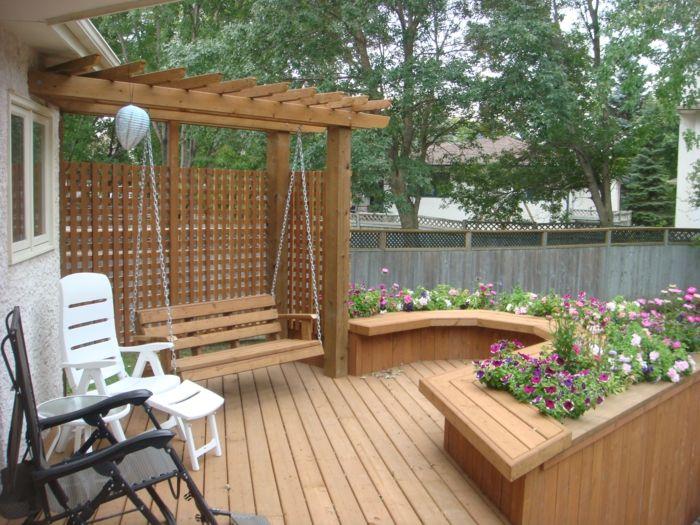 garten gartenschaukel design holz pflanzen sessel | garden, Gartenarbeit ideen