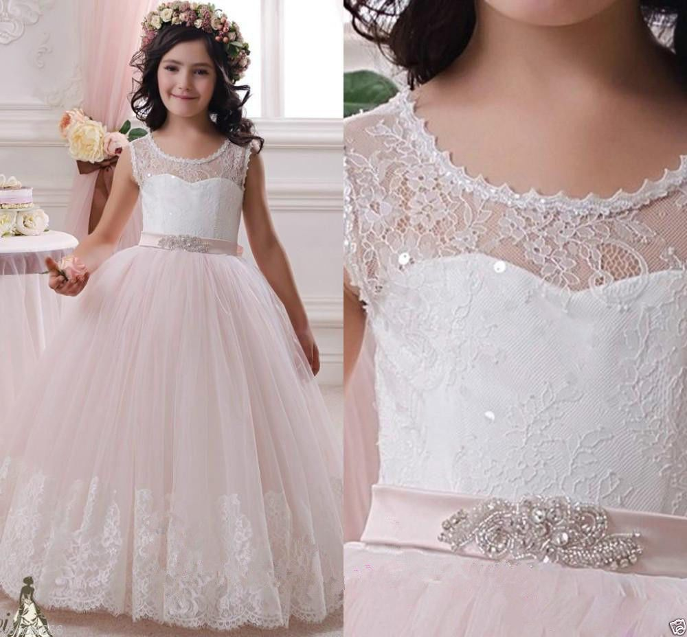 Long flower girl dresses tulle ball gown scoop first communion party