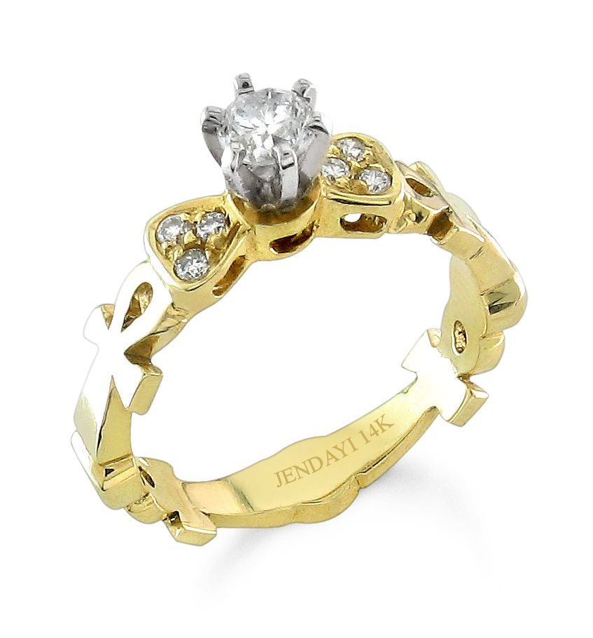 Divine Diva Ankh Ring Announce Your Love Double Sided 14k Yellow Goid Center Diamond 25 Carats Color H I J Clarity Vs2 Si