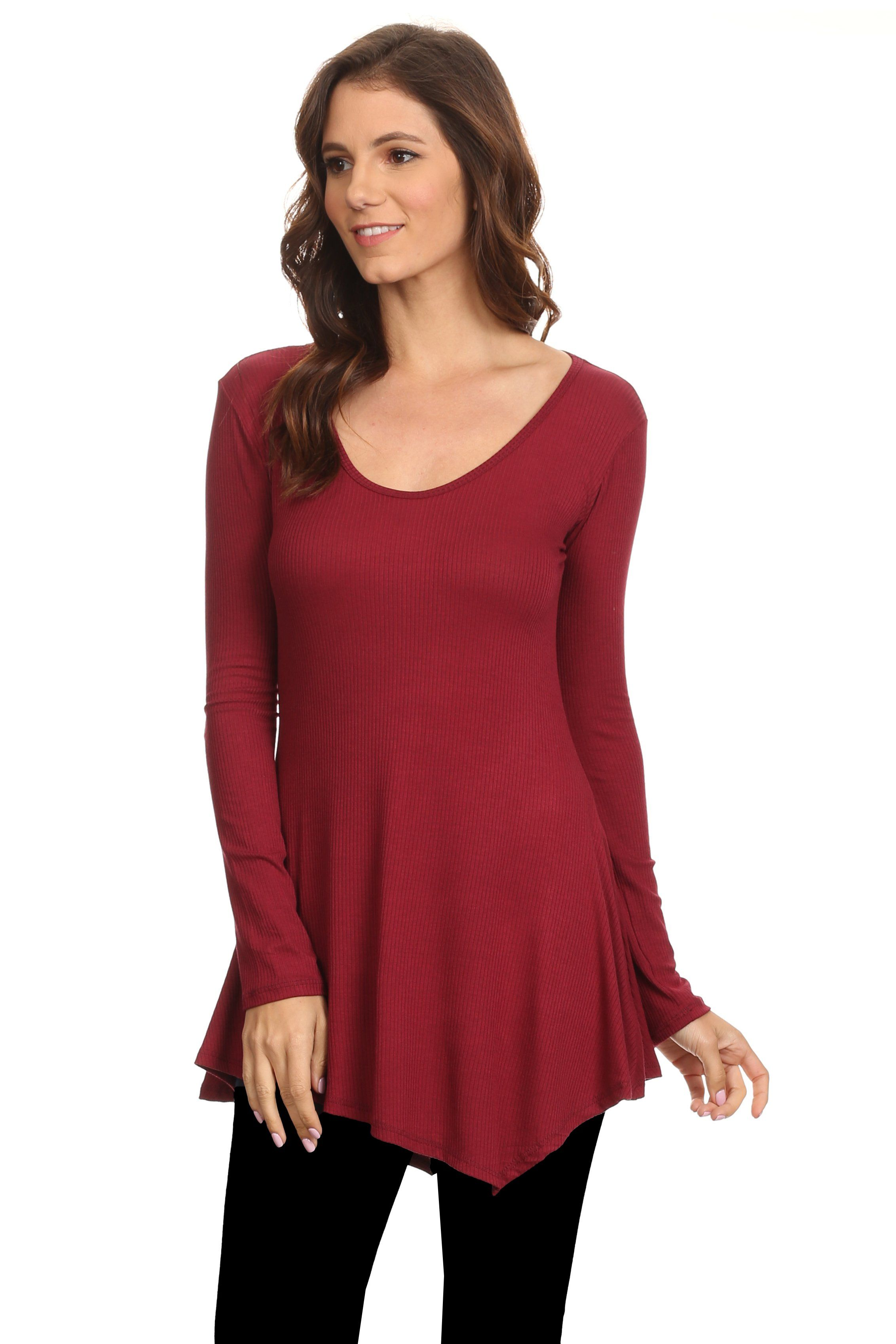 b654d6d3f6c Women's Long Sleeve Ribbed Shirt Handkerchief Hem Tunic Made in USA ...