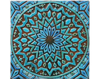 Moroccan Wall Hanging Made From Ceramic Exterior Art Handmade Tile Turquoise