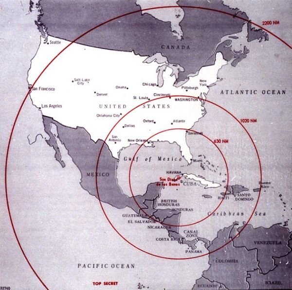 map showing the range of nuclear weapons being built in cuba used by the us government during the cuban missile crisis 1962 photograph in the john f