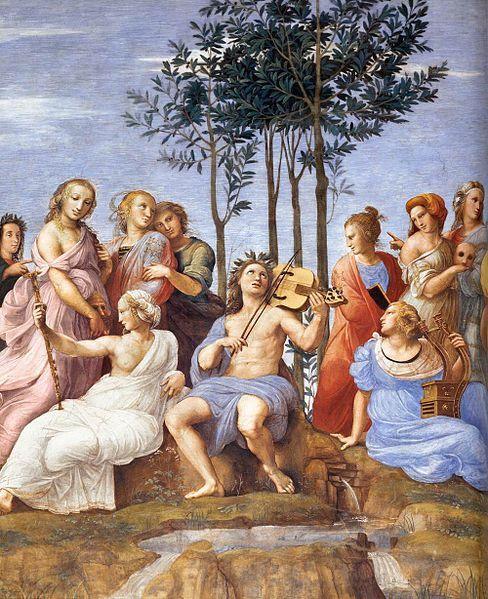"""""""Il pittore ha l'obbligo di fare le cose non come le fa la natura, ma come ella le dovrebbe fare."""" Raffaello Sanzio, particolare del Parnaso nella Stanza della Segnatura a Roma."""