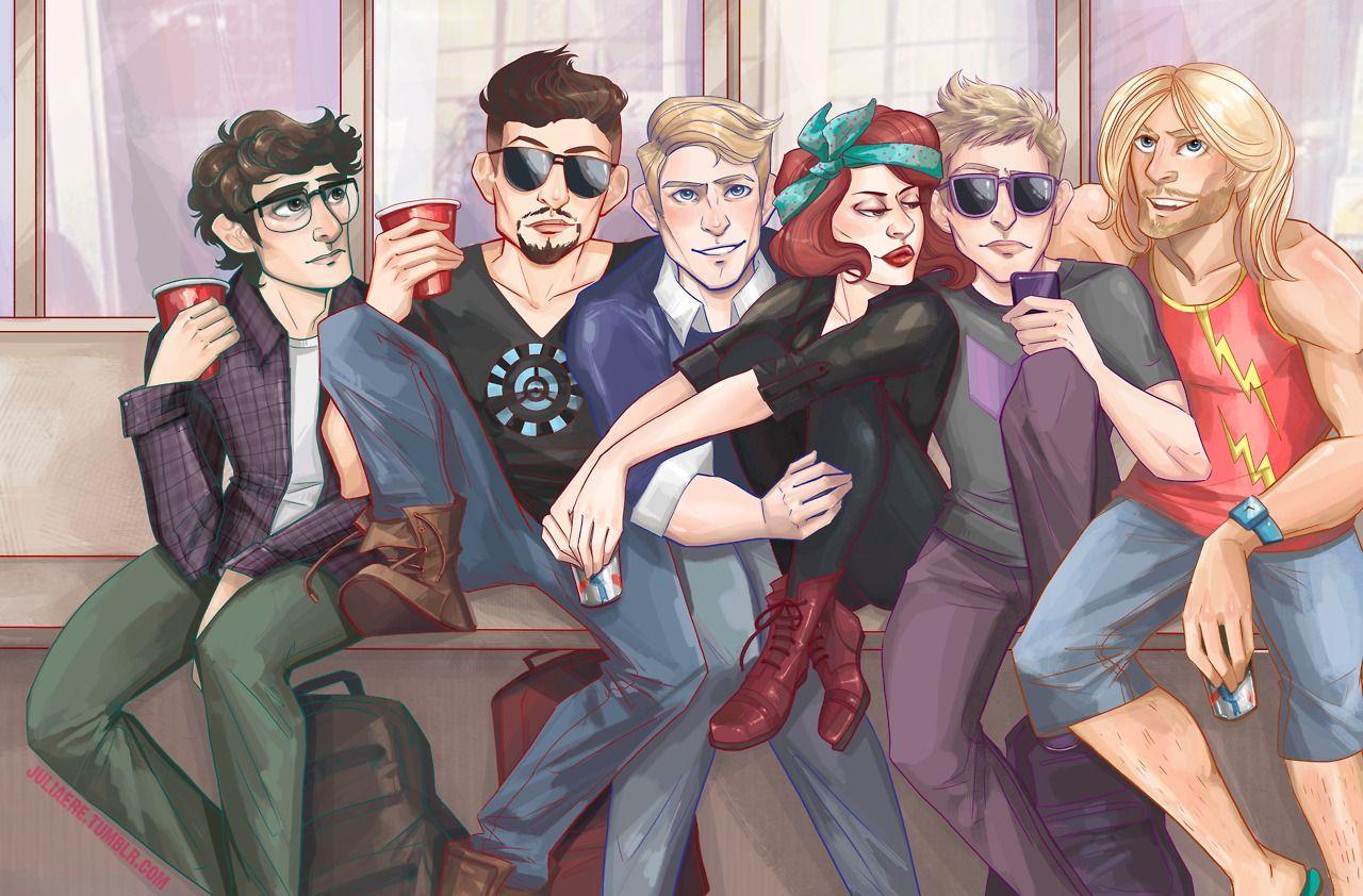 Avengers Pinterest: Avengers College AU Fanart By Juliaere