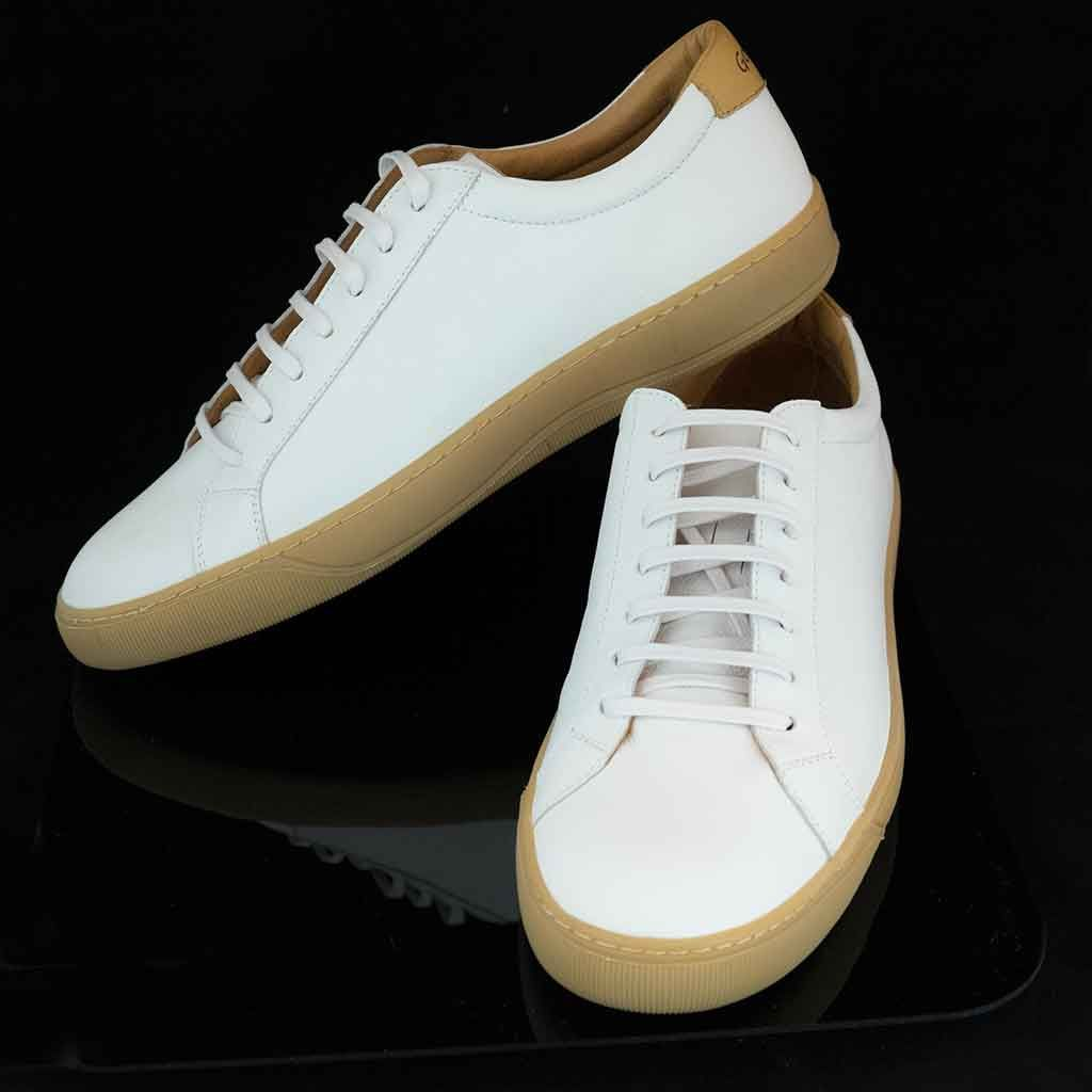 Low cut luxury trainers. White full grain leather uppers, leather lining  and footbed,