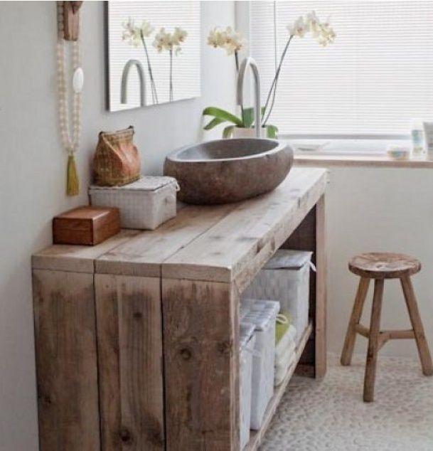 Plan vasque à faire soi-même en béton, bois, carrelage Wood planks - Meuble De Salle De Bain Sans Vasque