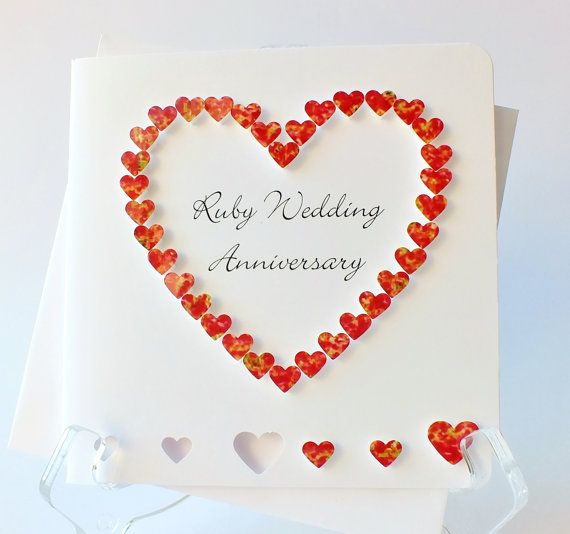 Handmade D Th Ruby Wedding Anniversary Card Th Anniversary