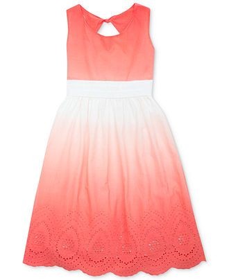 Rare Editions Girls' Dip-Dyed Eyelet Dress - Kids - Macy's